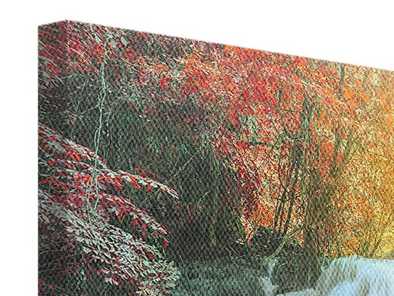 Panorama Leinwandbild 3-teilig Wasserfall im Licht