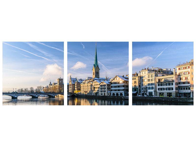 Panorama Leinwandbild 3-teilig Zürich