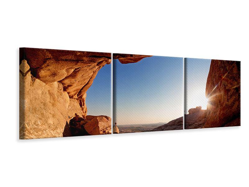 Panorama Leinwandbild 3-teilig Sonnenuntergang vor der Höhle