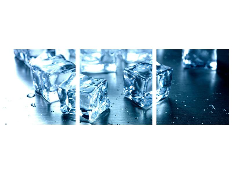 Panorama Leinwandbild 3-teilig Viele Eiswürfel