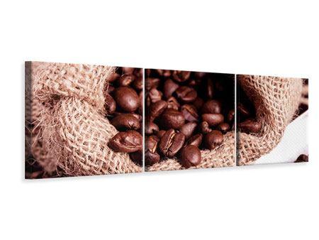 Panorama Leinwandbild 3-teilig XXL Kaffeebohnen