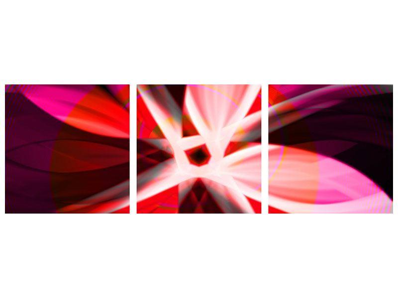 Panorama Leinwandbild 3-teilig Abstrakt Flower Power