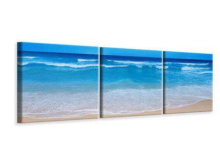 Panorama Leinwandbild 3-teilig Sanfte Strandwellen