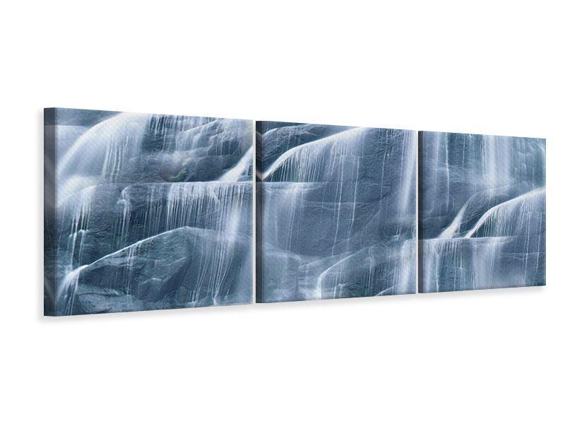 Panorama Leinwandbild 3-teilig Grossartiger Wasserfall