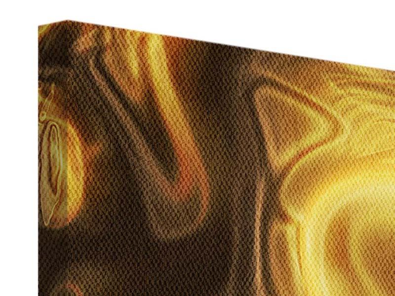 Panorama Leinwandbild 3-teilig Abstrakt Flüssiges Gold
