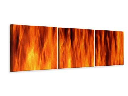 Panorama Leinwandbild 3-teilig Feuer Close Up