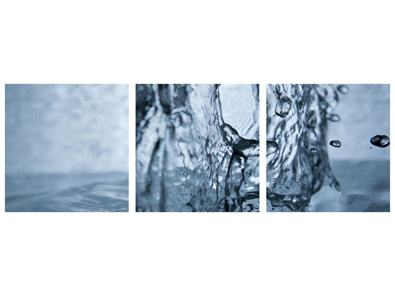 Panorama Leinwandbild 3-teilig Wasserdynamik