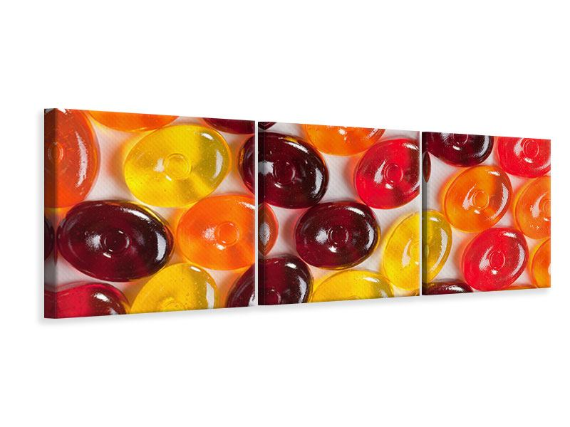 Panorama Leinwandbild 3-teilig Bonbons