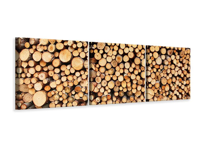 Panorama Leinwandbild 3-teilig Holzstämme