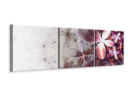 Panorama Leinwandbild 3-teilig Abstrakte Blumen