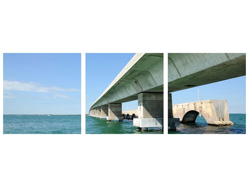 Panorama Leinwandbild 3-teilig Seven Mile Bridge