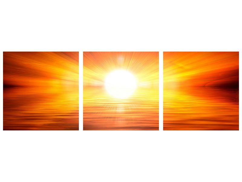 Panorama Leinwandbild 3-teilig Glühender Sonnenuntergang