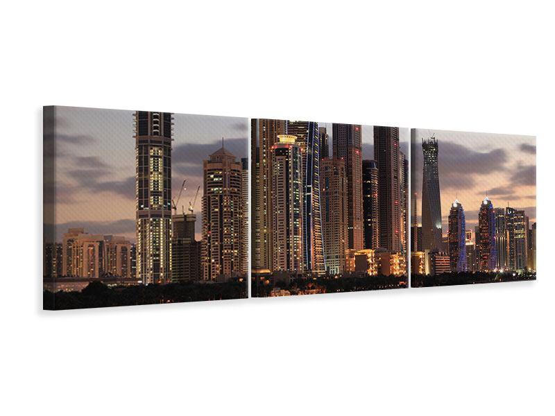Panorama Leinwandbild 3-teilig Skyline Dubai bei Sonnenuntergang
