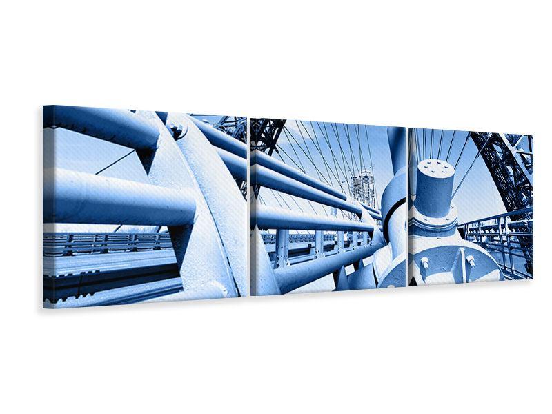 Panorama Leinwandbild 3-teilig Avantgardistische Hängebrücke