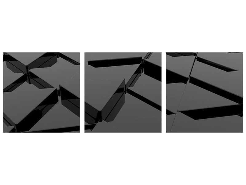 Panorama Leinwandbild 3-teilig 3D-Dreiecksflächen
