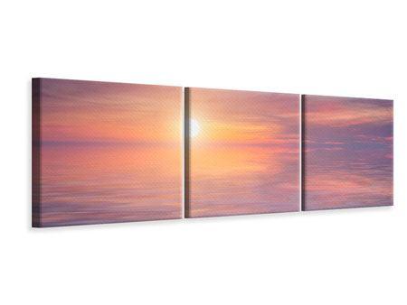 Panorama Leinwandbild 3-teilig Sonnenuntergang auf See