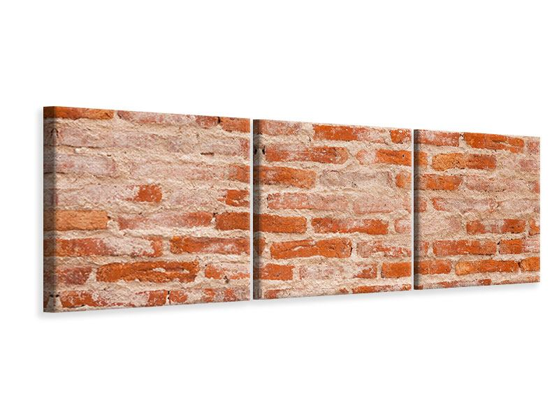 Panorama Leinwandbild 3-teilig Mauerwerk