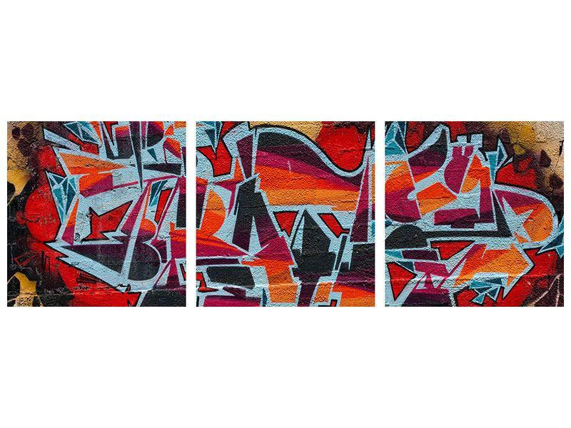 Panorama Leinwandbild 3-teilig New York Graffiti