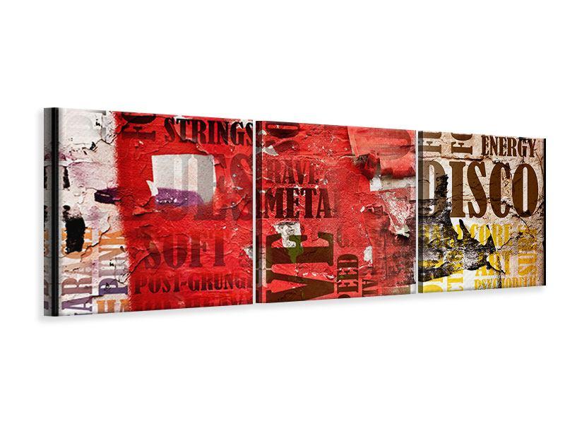 Panorama Leinwandbild 3-teilig Musiktext im Grungestil