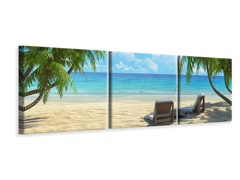 Panorama Leinwandbild 3-teilig Strandparadies