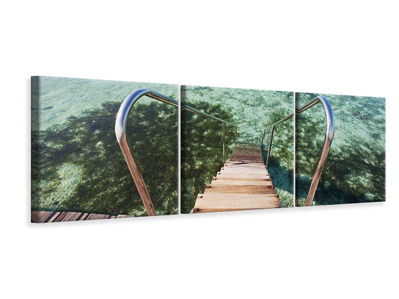 Panorama Leinwandbild 3-teilig Bad im Meer