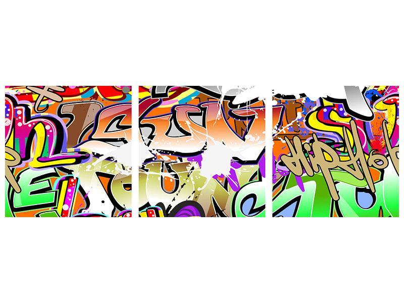 Panorama Leinwandbild 3-teilig Writings