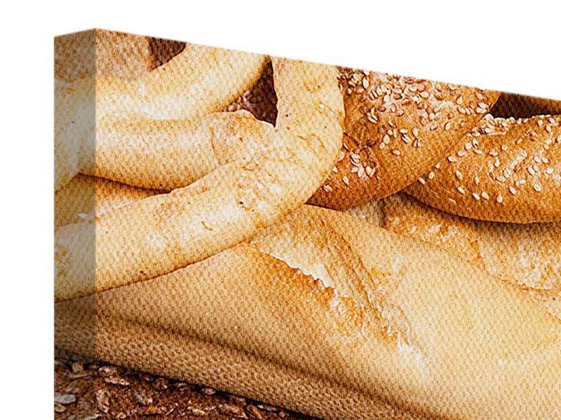 Panorama Leinwandbild 3-teilig Brot und Bretzel