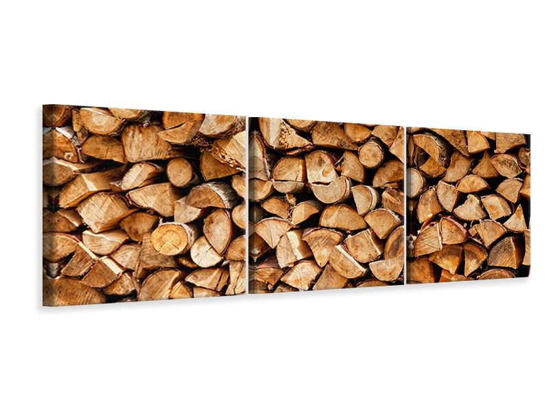 Panorama Leinwandbild 3-teilig Gestapeltes Holz