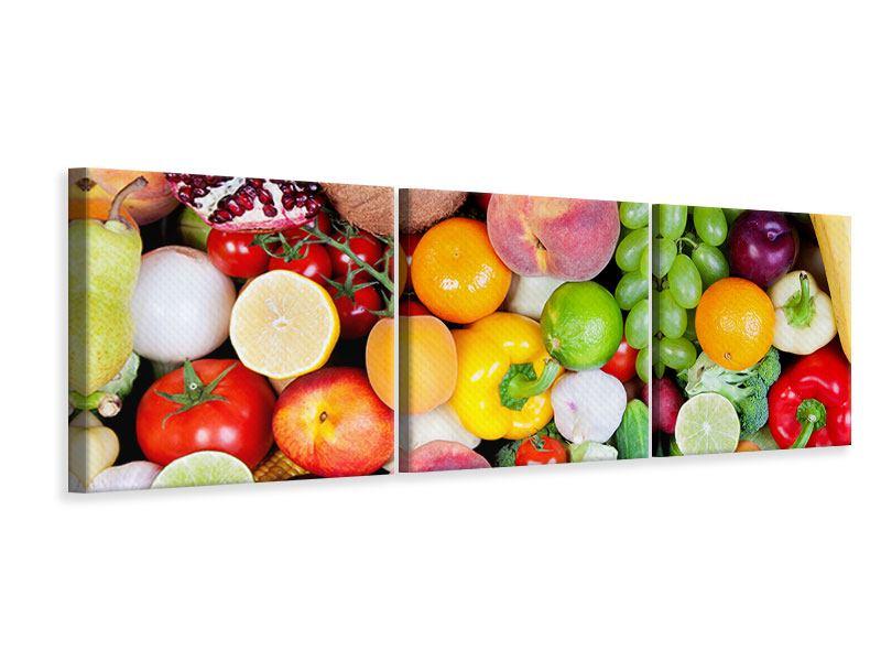 Panorama Leinwandbild 3-teilig Frisches Obst