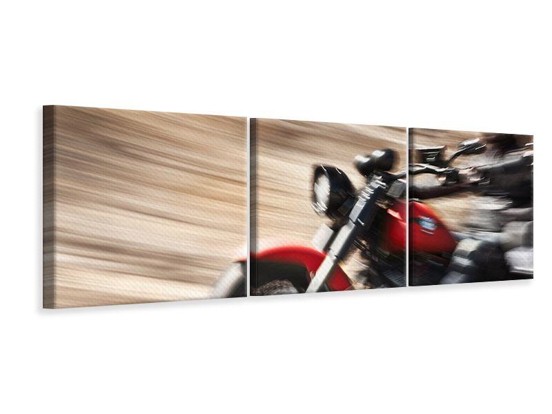 Panorama Leinwandbild 3-teilig Biker