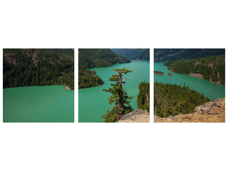 Panorama Leinwandbild 3-teilig Diablo Bergsee
