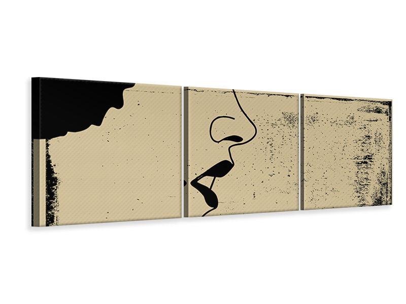 Panorama Leinwandbild 3-teilig Frauenportrait im Grungestil