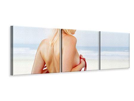 Panorama Leinwandbild 3-teilig Rücken einer Schönheit