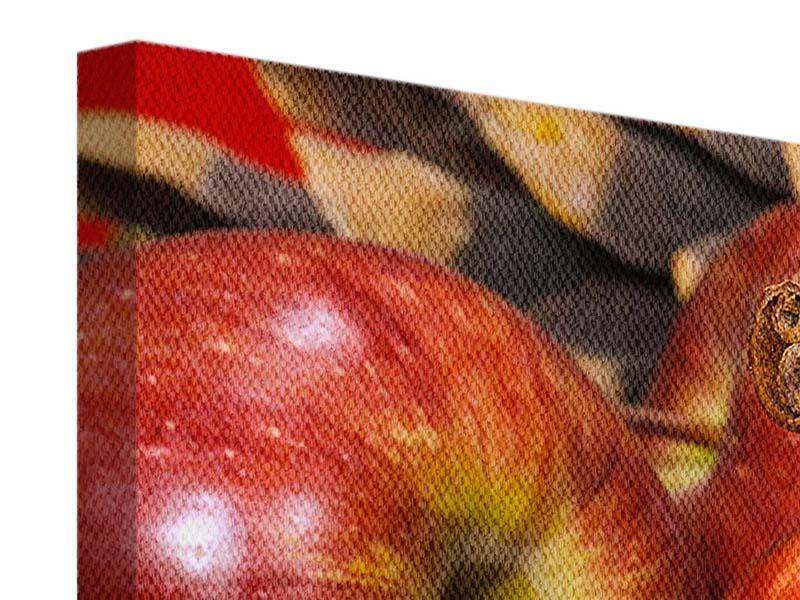 Panorama Leinwandbild 3-teilig Äpfel