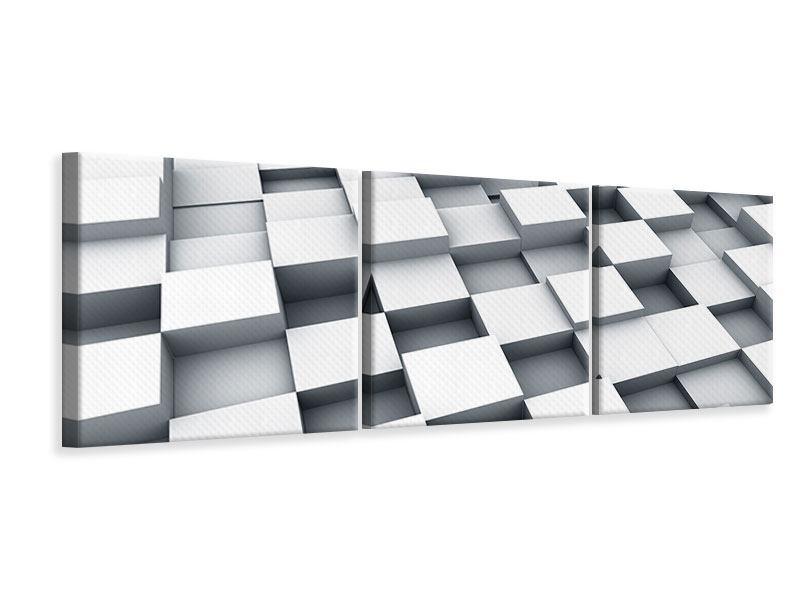 Panorama Leinwandbild 3-teilig 3D-Kubus