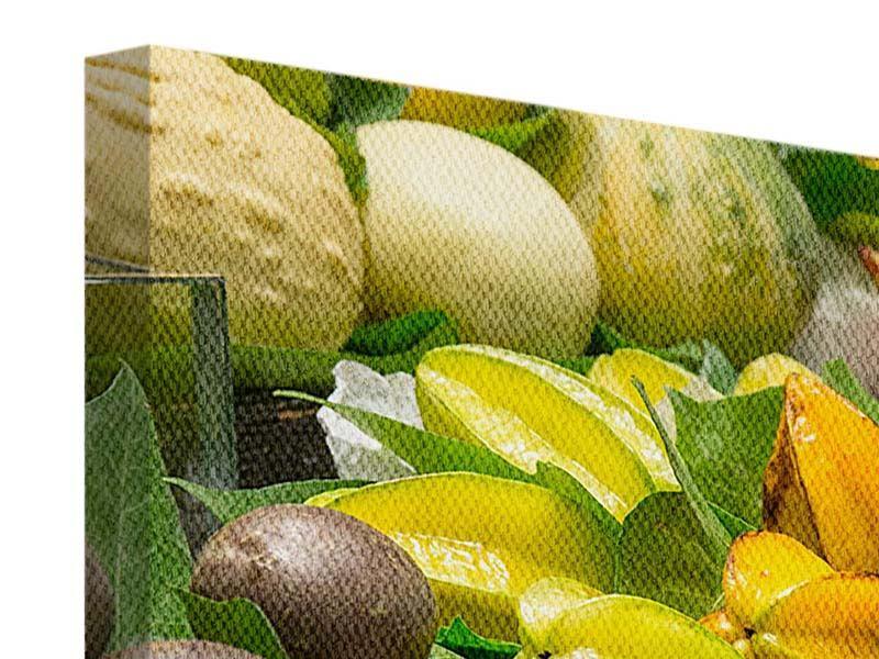Panorama Leinwandbild 3-teilig Früchte