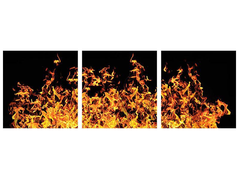 Panorama Leinwandbild 3-teilig Moderne Feuerwand