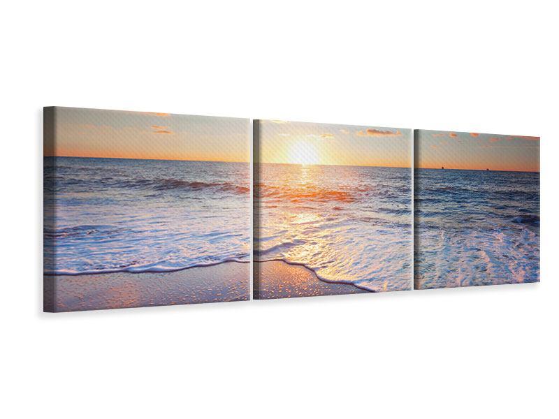 Panorama Leinwandbild 3-teilig Sonnenuntergang am Horizont