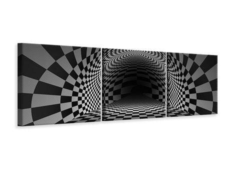 Panorama Leinwandbild 3-teilig Abstraktes Schachbrett