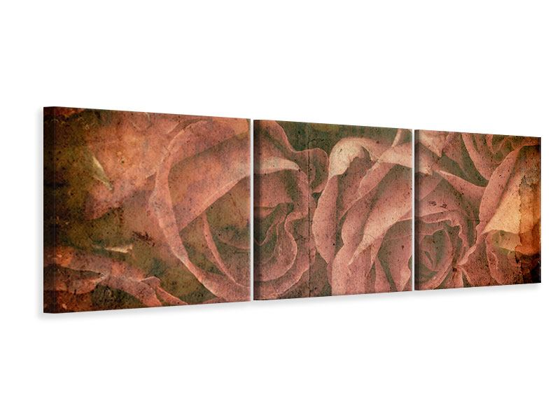 Panorama Leinwandbild 3-teilig Rosenbukett