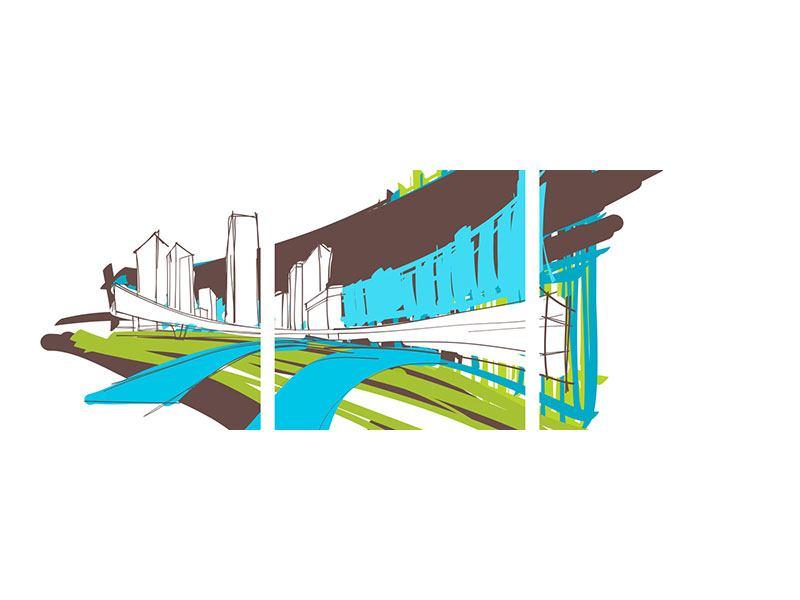 Panorama Leinwandbild 3-teilig Graffiti Street-Art