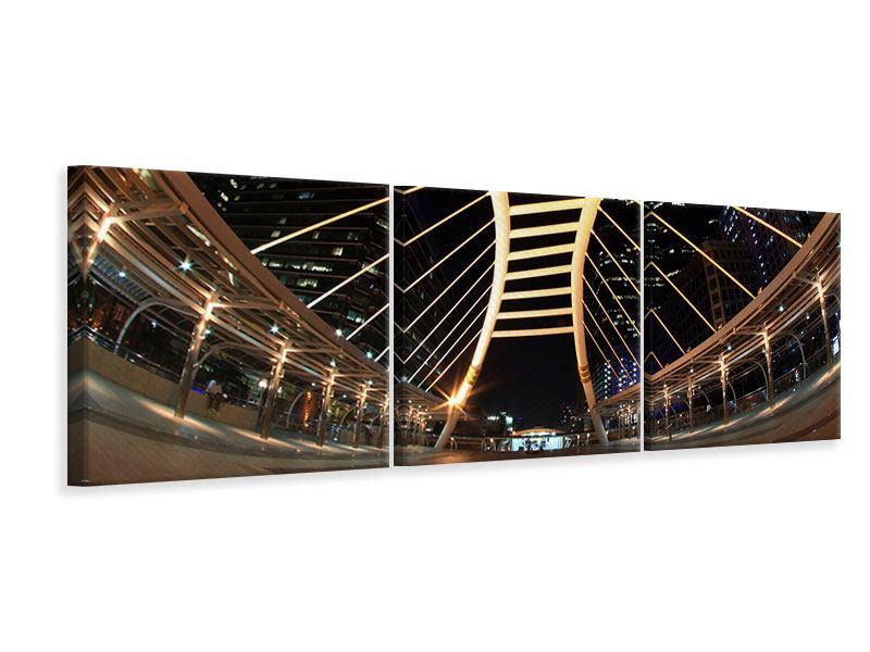 Panorama Leinwandbild 3-teilig Avantgardistische Brücke