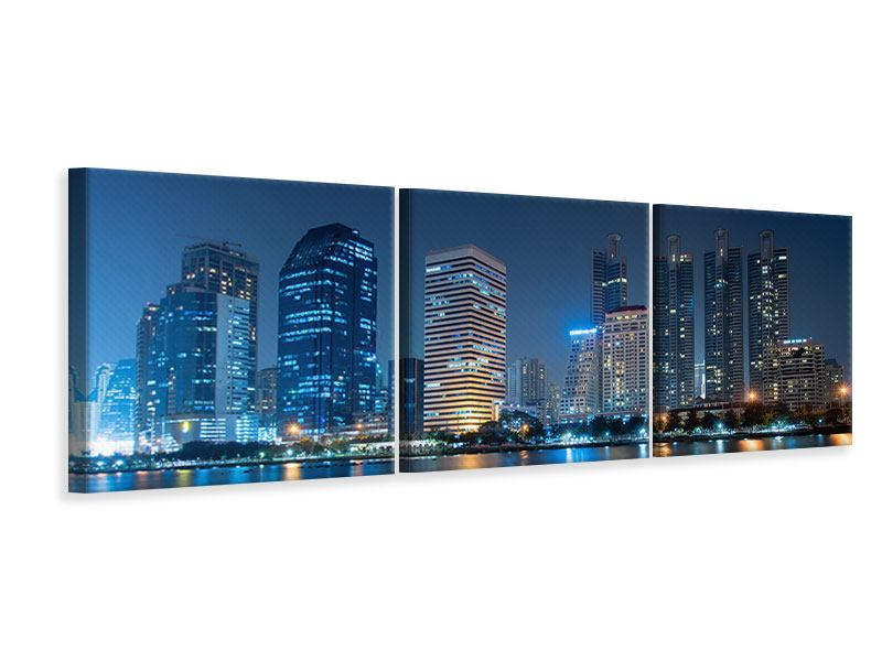 Panorama Leinwandbild 3-teilig Skyline Bangkok bei Nacht