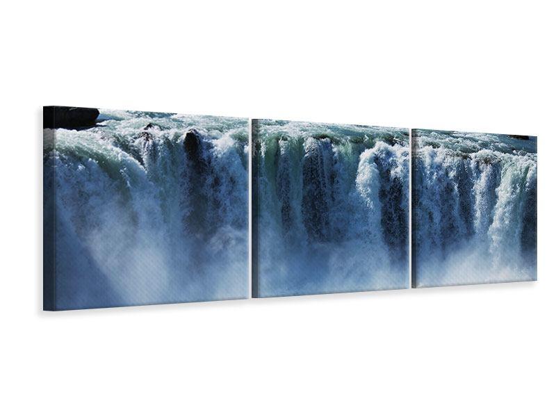 Panorama Leinwandbild 3-teilig Mächtiger Wasserfall