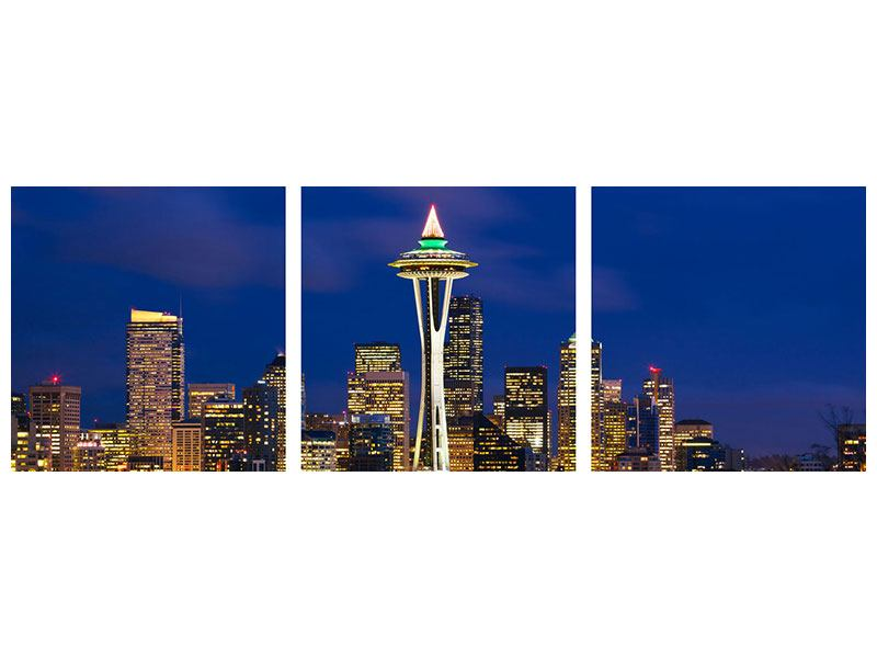 Panorama Leinwandbild 3-teilig Skyline Seattle