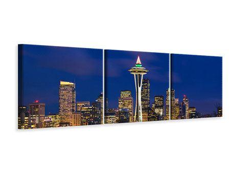 Panorama Leinwandbild 3-teilig Skyline Seattle