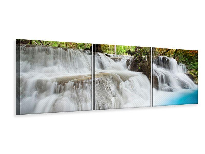 Panorama Leinwandbild 3-teilig Erawan Wasserfall