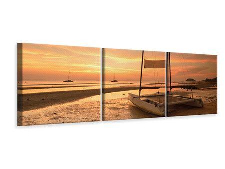 Panorama Leinwandbild 3-teilig Sonnenuntergang am Strand