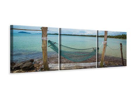 Panorama Leinwandbild 3-teilig Hängematte