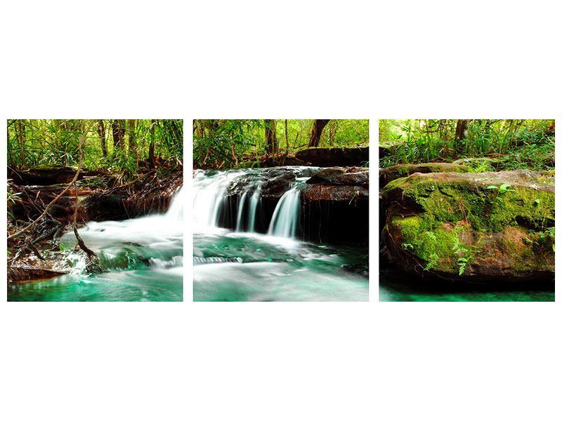 Panorama Leinwandbild 3-teilig Der Fluss am Wasserfall